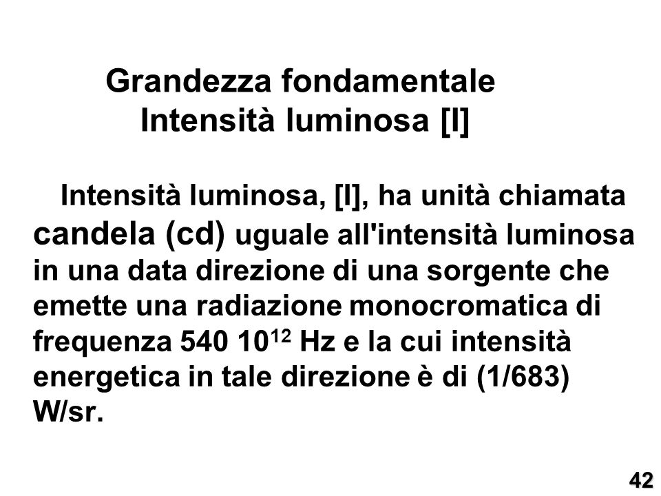 Grandezza fondamentale Intensità luminosa [I]